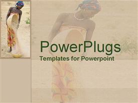 PowerPoint template displaying set against soft yellow background an African woman pours grain from one gourd to another