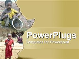 PowerPoint template displaying two little poor, malnaurished and hungry looking African children