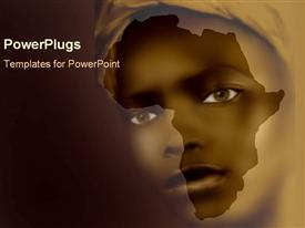 PowerPoint template displaying african girl's face over shape of Africa