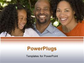 PowerPoint template displaying a family together with tees in the background