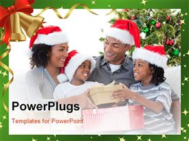 PowerPoint template displaying happy Afro-American family celebrating Christmas at home in the background.