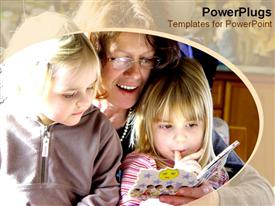 PowerPoint template displaying mother reading story to two girls, daughters, education, family