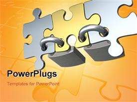 PowerPoint template displaying three puzzle pieces locked together with yellowish background