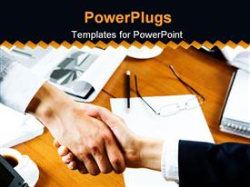 PowerPoint template displaying board room table with papers, pencil and glasses with two hands shaking, business
