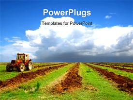 PowerPoint template displaying agriculture landscape with a big tractor in the background.