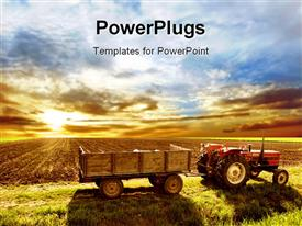 PowerPoint template displaying agriculture landscaped with a tractor and sunset in the background.