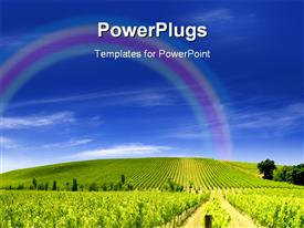 PowerPoint template displaying vibrant green vineyard under a clear blue sky in the background.