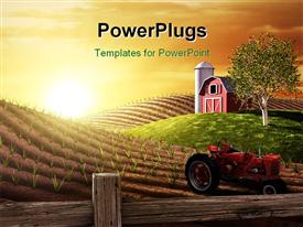PowerPoint template displaying small red barn and tractor on farm at sunrise in spring