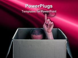 PowerPoint template displaying a person showing his index finger from the box