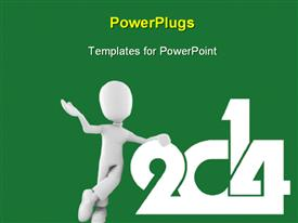 PowerPoint template displaying 3D man lean against year 2014 on solid green background