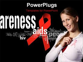 PowerPoint template displaying aIDS awareness ribbon with related social keywords