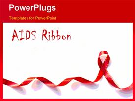 PowerPoint template displaying red Support Ribbon with copy space