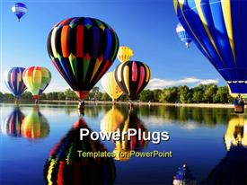 PowerPoint template displaying a number of air balloons with clear sky in the background