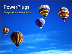 Hot air balloons against blue sky International Balloon Festival Albuquerque New Mexico powerpoint design layout