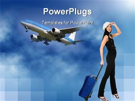 Young attractive woman with luggage walking  - airline powerpoint slides