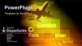 PowerPoint template displaying airports city's on the button and plane in the background.