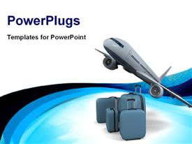 PowerPoint template displaying model of flying passenger aircraft with luggage