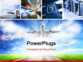 PowerPoint template displaying collage of airplane interior with airplane taking off into blue cloudy sky