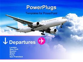 PowerPoint template displaying plane landing or flying away. plane-sky. plane. sky and clouds