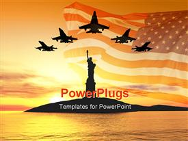 Five jets over statue of liberty 3D illustration montage powerpoint template