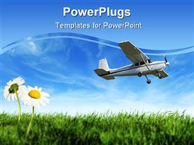 Airplane on the landing way, background template for powerpoint