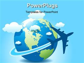 PowerPoint template displaying airplane travel on globe