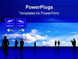 PowerPoint template displaying stylized airport office interior with people silhouettes