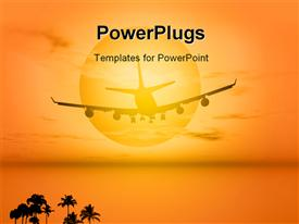 PowerPoint template displaying plane flying in the sun for an exotic travel in the background.