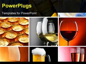 PowerPoint template displaying set of different alcohol drinks depictions square crop