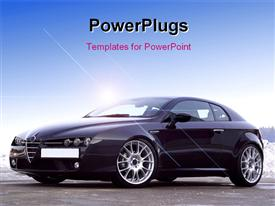 PowerPoint template displaying a luxurious car with bluish background and place for text