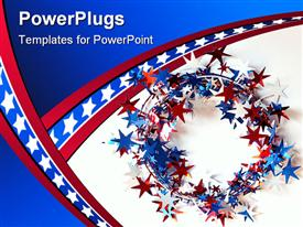 Garland wreath of stars in red, white and blue powerpoint theme