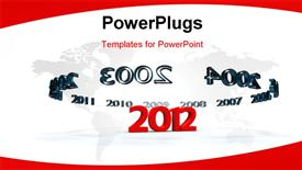 PowerPoint template displaying years of stealing around the new year 2012 in red