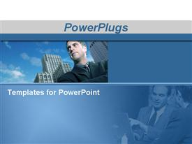 PowerPoint template displaying businessman standing in front of buildings with his arms crossed and business team talking at the in the background.