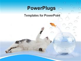 Cat wants to get a fish, jumping out his glass powerpoint design layout
