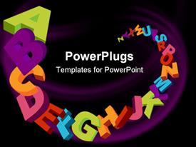 PowerPoint template displaying colorful 3D alphabet letters background and sample text in the background.