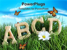 PowerPoint template displaying aBC letters with daisy in tall grass