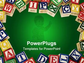 PowerPoint template displaying lots of multi colored wooden learning blocks with alphabets