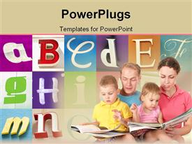 PowerPoint template displaying mom and dad holding baby girl and baby girl on their laps with open books reading to babies, alphabet letters in the background