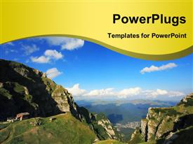PowerPoint template displaying landscape of Bodega mountains, Romania showing blue cloudy sky