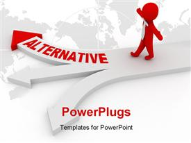 PowerPoint template displaying alternative choose concept computer generated depiction for design in the background.