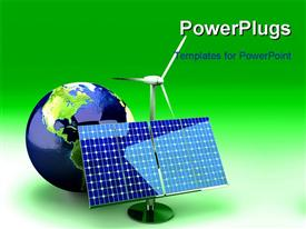 PowerPoint template displaying a globe along with alternative energy ways