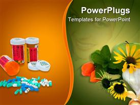 PowerPoint template displaying a collection of medicines and flowers with multicolored background