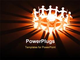 PowerPoint template displaying lots of paper cut human characters standing round  burning flame