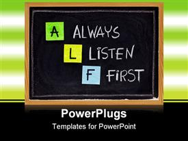PowerPoint template displaying lF acronym (always listen first) - good advice for training counseling customer service selling in the background.