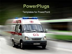 PowerPoint template displaying a very fast moving ambulance with over head lights