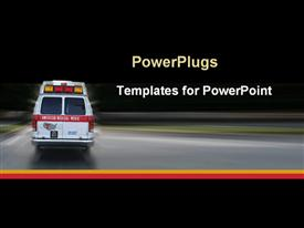 PowerPoint template displaying ambulance going to hospital for emergency at night black background