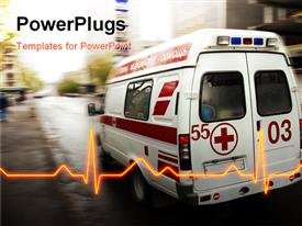 PowerPoint template displaying an ambulance with a heartbeat line and place for text