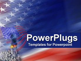 PowerPoint template displaying american colors with Attack on America text and World Trade Center explosions