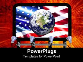 PowerPoint template displaying billboard with Earth Globe showing North America on USA Flag. Fire explosion background