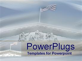 PowerPoint template displaying american flag flying atop US Supreme Court building